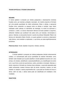 TECIDO EPITELIAL E TECIDO CONJUNTIVO