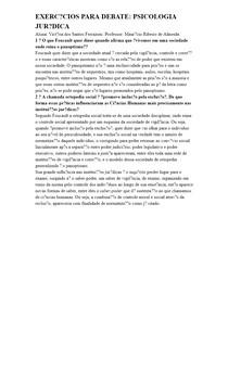 EXERCÍCIOS PARA DEBATE: PSICOLOGIA JURÍDICA
