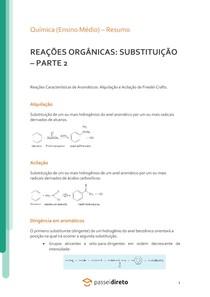 Reações orgânicas: substituição (aromáticos) - Resumo
