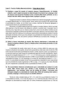Teoria e Política Macroeconômica I Lista de Exercícios 2 Felipe Moreti Bolini