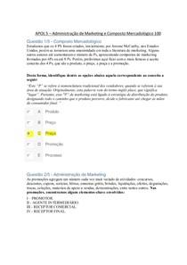 APOL 5 Administração de Marketing e Composto Mercadológico 100