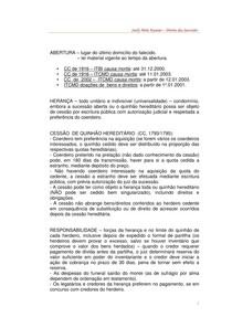 Direito Civil - Sucessões - roteiro de estudos