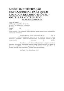 Modelo Notificação Extrajudicial Reparo Do Imóvel Do Locador