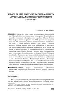 A disciplina em crise- a disputa metodológica na ciência política norte americana