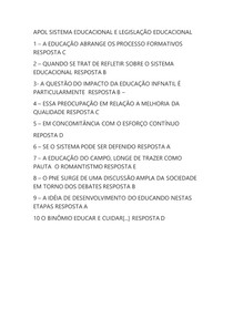 APOL SISTEMA DE ENSINO LEGISLAÇÃO E POLÍTICA EDUCACIONAL