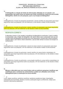 EXERCÍCIOS - REVISÃO DA LITERATURA