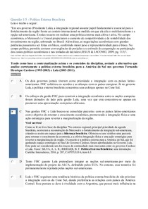 APOL 5 - Política Externa Brasileira - Economia Política