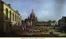 Bernardo Bellotto - Praça do Mercado Novo  em Dresden  visto do Judenhof
