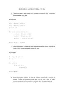 Exercícios sobre listas em python