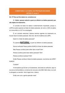 COMENTÁRIOS À LGPD: ARTIGO 5º, inciso V