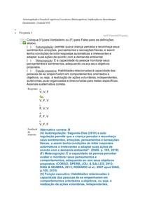 Autorregulação e Funções Cognitivas, Executivas e Metacognitivas Q8