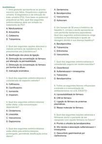 Questões sobre os Antibióticos + gabarito