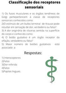 Classificação dos receptores sensoriais