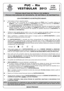PUC RJ 2013 - prova Ciências da Natureza (questões objetivas)