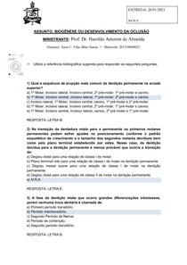 ATIVIDADE 4 - BIOGENESE OU DESENVOLVIMENTO DA OCLUSAO