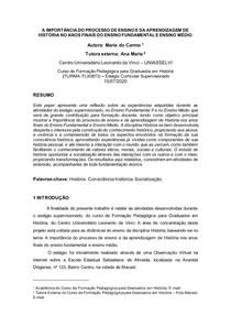 PAPER DO ESTÁGIO DE HISTÓRIA
