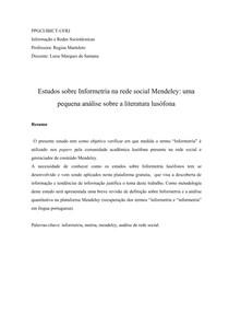 Estudos sobre Informetria na rede social Mendeley: uma pequena análise sobre a literatura lusófona