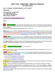 REFORMA TRABALHISTA - Resumo - Direito do Trabalho