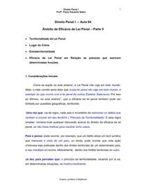 04-Âmbito de Eficácia da Lei Penal – P-II - Prof