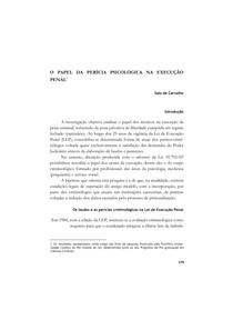 O papel da Perícia Psicológica na Execução Pena