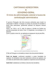 Capitanias hereditárias e governo-geral