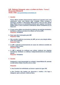 Saberes Dialogando sobre a Lei Maria da Penha Turma 2 Resposta Modulo III