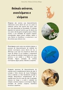 Animais onívoros, ovovivíparos e vivíparos