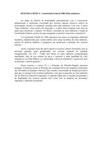 RESENHA CRÍTICA - Constituição Federal 1988