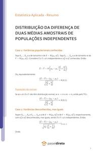 Distribuição amostral da diferença de duas médias amostrais para populações independentes - Resumo