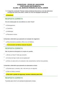 EXERCÍCIOS - VÍCIOS DE LINGUAGEM