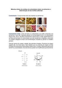 Métodos diretos de análises de carboidratos totais nos alimentos e determinação do teor de fibra alimentar
