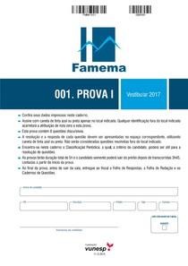 PROVA FAMEMA 2017 - Faculdade de Medicina de Marília