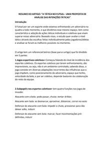"""Resumo de Artigo: """"A tática no futsal - Uma proposta de análise de intenções táticas."""""""