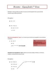 Resumo - Equação de Primeiro Grau