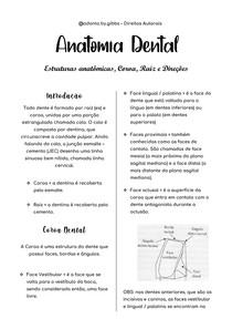 RESUMÃO PRINCÍPIOS DA ANATOMIA DENTAL
