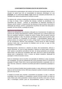 LEVANTAMENTOS EPIDEMIOLÓGICOS EM ODONTOLOGIA