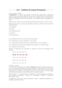 Av1 didatica da lingua portuguesa