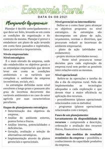Planejamento Agropecuário - Economia e Administração rural