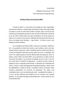 Análise Crítica da Carta da ONU