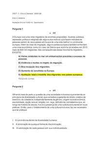Avaliação On-Line 4 (AOL 4) - Ética e Cidadania