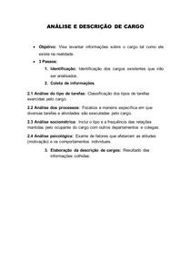 ANÁLISE E DESCRIÇÃO DE CARGO