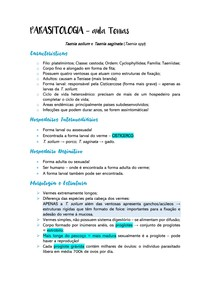 Resumo Parasitologia - Platelmintos - Teníase e Cisticercose