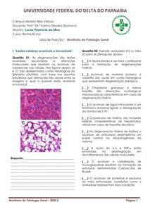 Lista de Fixação 01 - Patologia Geral (Monitoria)