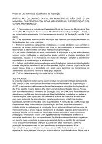 Projeto de Lei, elaboração e justificativa da preposição