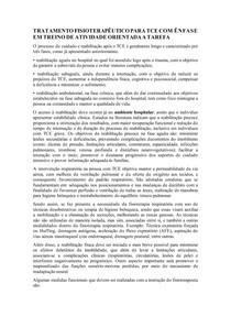 TRATAMENTO FISIOTERAPÊUTICO PARA TCE COM ÊNFASE EM TREINO DE ATIVIDADE ORIENTADA A TAREFA