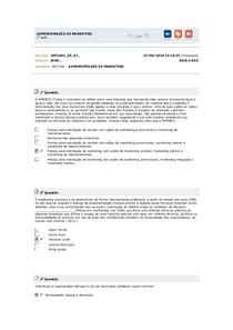 ADMINISTRAÇÃO DE MARKETING   Exercícios