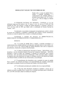 (Resolução 425 2012 CONTRAN