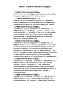 RESUMO ÉTICA E RESPONSABILIDADE SOCIAL- ESTACIO