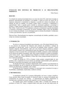 EVOLUÇÃO DOS SISTEMAS DE PRODUÇÃO E AS ORGANIZAÇÕES MODERNAS