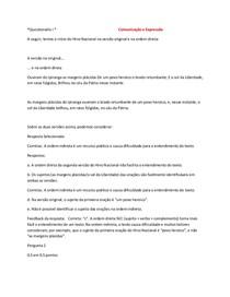 Comunicação e Expressão questionário 1